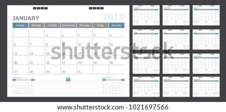 Calendar for 2019 pastel background