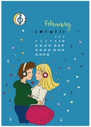 calendar for the month of February 2018, a girl and a guy hugging and listening to the music of the night close to the stars and hearts