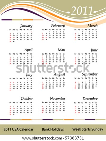 stock vector : Calendar for the year 2011. United States version with bank