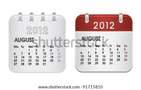 Calendar for 2012, web icon collection, August, vector illustration