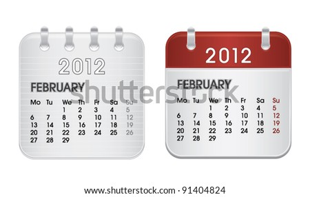 Calendar for 2012, web icon collection, February, vector illustration