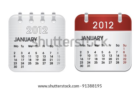Calendar for 2012, web icon collection, January, vector illustration