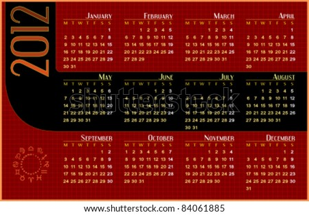 Calendar for 2012. Week starts on Monday. Easy to edit. Space for text or logo.