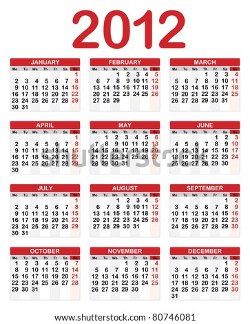 Calendar for 2012, Week starts on Sunday.