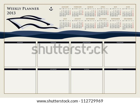 calendar for 2013, weekly planner, doodle, ship