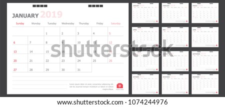 Calendar for 2019 White and red background
