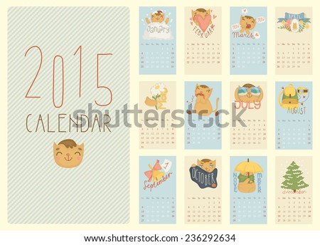 Calendar for 2015 with a cheerful red cat Vector illustration