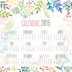 Calendar for 2016 with flower