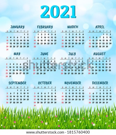 calendar for 2021 with fresh