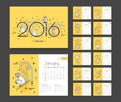Calendar for 2016 with monkeys. Week beginning Sunday. Template desktop planner for each month.