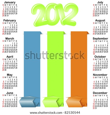 Calendar for 2012 with origami banners. american style. vector.