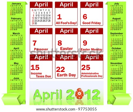 Calendar for 2012 with origami banners and Holiday icons calendars for April 2012. american style. vector.