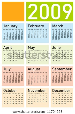 Calendar for 2009, with space reserved for a logo. in vector format