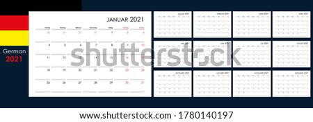 Calendar for 2021 year. An organizer and planner for every day. Week starts from Monday. 12 boards, months set. Wall layout. Clear template. German language. Stock foto ©