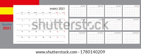 Calendar for 2021 year. An organizer and planner for every day. Week starts from Monday. 12 boards, months set. Wall layout. Clear template. Spanish language.