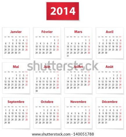 Calendar for 2014 year in French on white paper Vector illustration