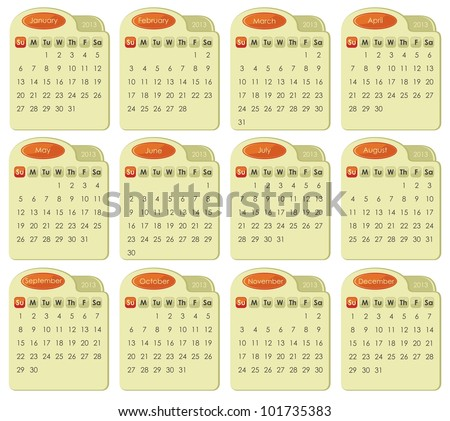Calendar for year 2013 in tabbed style - stock vector