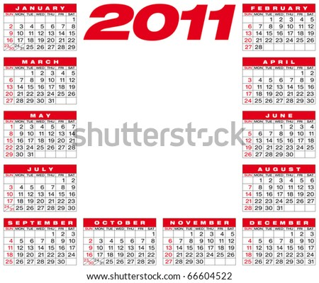 Calendar for year 2011, in vector format. American style (Week starts on Sunday).
