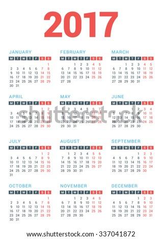 Calendar for 2017 Year on
