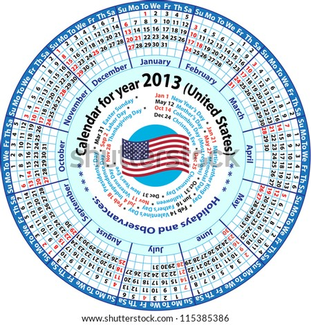 Calendar for year 2013 (United States)