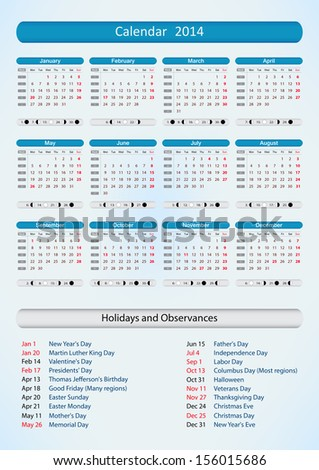 Calendar For Year 2014 (United States) Holidays And Observances ...