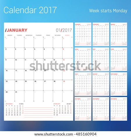 Royalty-free Calendar planner schedule 2016 week… #288436844 Stock ...