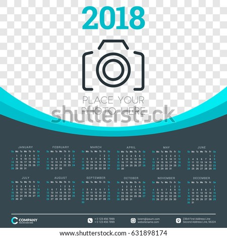 Calendar for 2018 year. Vector design template. Week starts on Sunday. Vector illustration with place for photo. Dark background