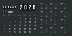 Calendar for 2020 year vector illustration. Basic grid colorful design. Organizer template in black, blue and red colors, Business planner, organizer with flipboard text and numbers layout