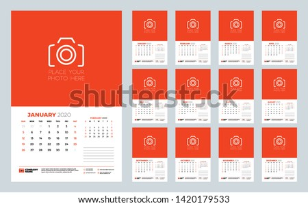 Calendar for 2020 year. Wall calendar planner template. Week starts on Sunday. Typographic design template. Set of 12 months. Vector illustration
