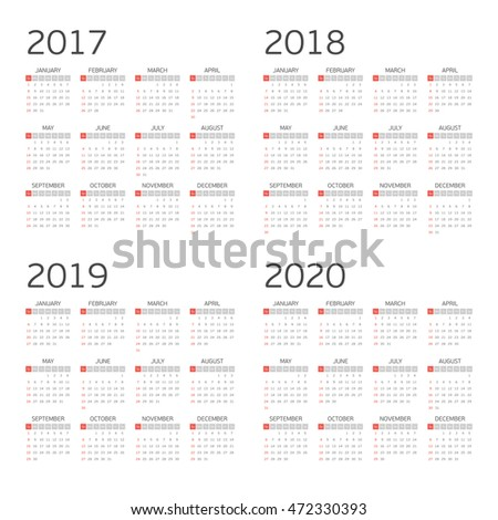 Calendar for years 2017, 2018, 2019 and 2020. Week starts from Sunday. Simple Vector Template.