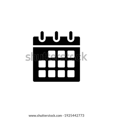 Calendar glyph icon. Simple solid style. Schedule, date, day, plan, symbol concept. Vector illustration isolated on white background. EPS 10.
