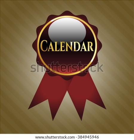 Calendar gold badge or emblem