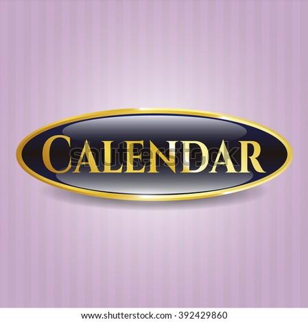 Calendar gold emblem or badge