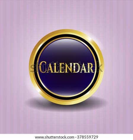 Calendar gold shiny emblem