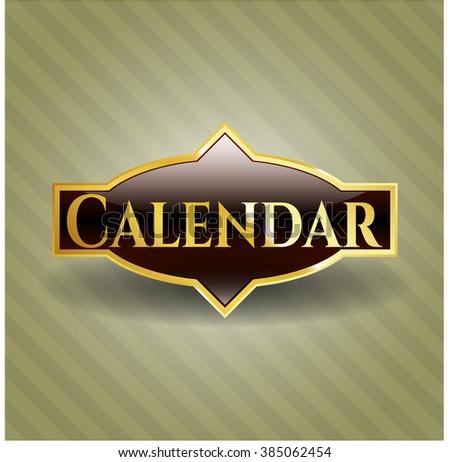 Calendar golden emblem or badge