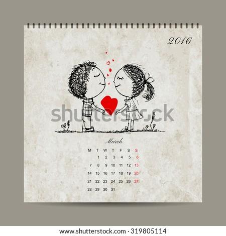 calendar grid 2016 design