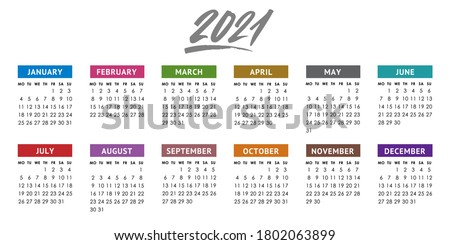 Calendar grid for 2021 year. Week starts Monday. Vector design template