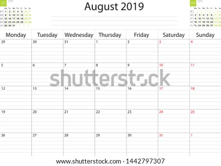 Calendar grid month August 2019 task scheduler workspace. Vector image