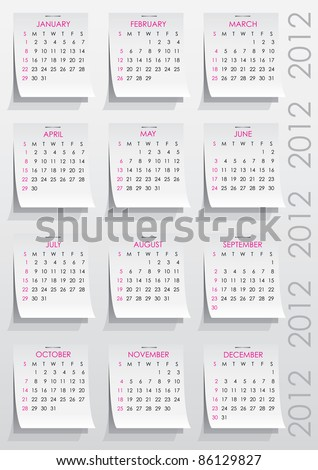 calendar grid of 2012 year on realistic paper stickers