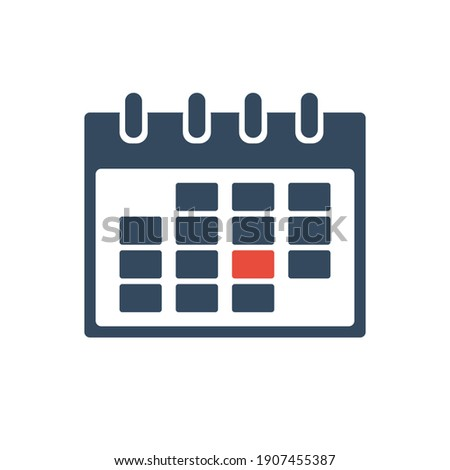 calendar grid with one selected day, flat vector bicilor icon