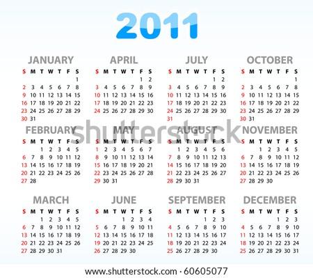 Calendar grid 2011 year english Foto stock ©