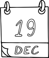 calendar hand drawn in doodle style. December 19. International Day to Assist the Poor, date. icon, sticker element for design, planning, business holiday