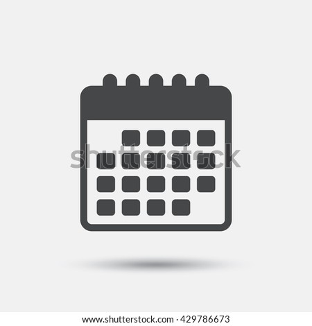 Calendar icon. Event reminder symbol. Flat calendar web icon on white background. Vector
