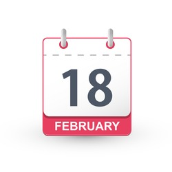 Calendar icon 18 February. Vector illustration of calendar with the date 18 February.
