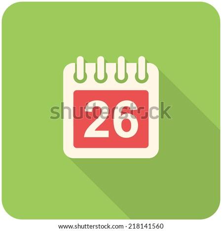 Calendar icon flat design with long shadows