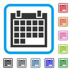 Calendar icon. Flat grey pictogram symbol inside a blue rounded frame. Black, gray, green, blue, red, orange color versions of Calendar vector. Designed for web and application interfaces.
