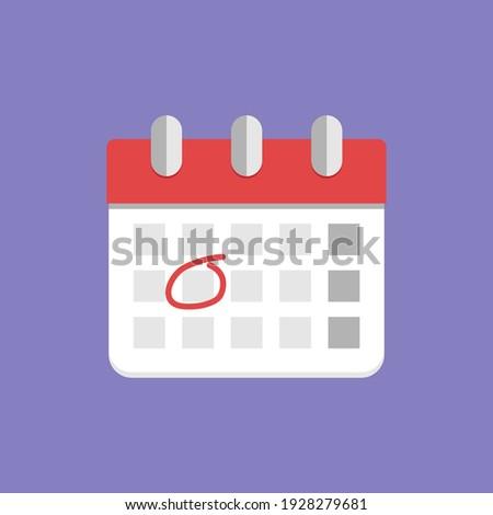 Calendar icon. Highlighted day on the calendar. Flat vector illustration