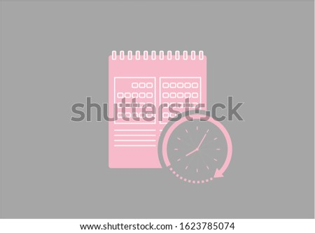 Calendar icon linear with clock illustration vector in red background. This calendar icon linear vector has one calendar icon. This calendar icon consists of a calendars icons and clock illustration.