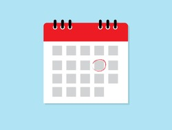 Calendar icon. Mark the date. Schedule icon isolated on blue background. Flat design. Vector illustration.