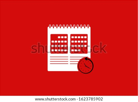 Calendar icon outline with clock illustration vector in red background. This calendar icon outline vector has one calendar icon. This calendar icon consists of a calendars icons and clock illustration